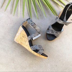 COLE HAAN Jillian Spotted Snakeskin Strappy Wedges